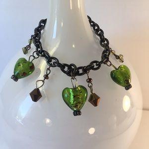 Murano Glass Green Heart Charm Bracelet